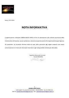 NOTA INFORMATIVA - REVOCA SCIOPERO