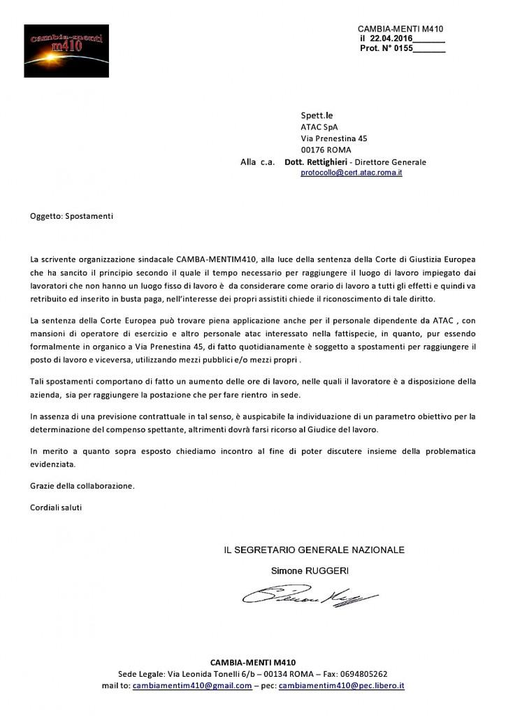 SPOSTAMENTI..INIZIA LA RACCOLTA FIRME DEL SINDACATO CAMBIA-MENTI M41O