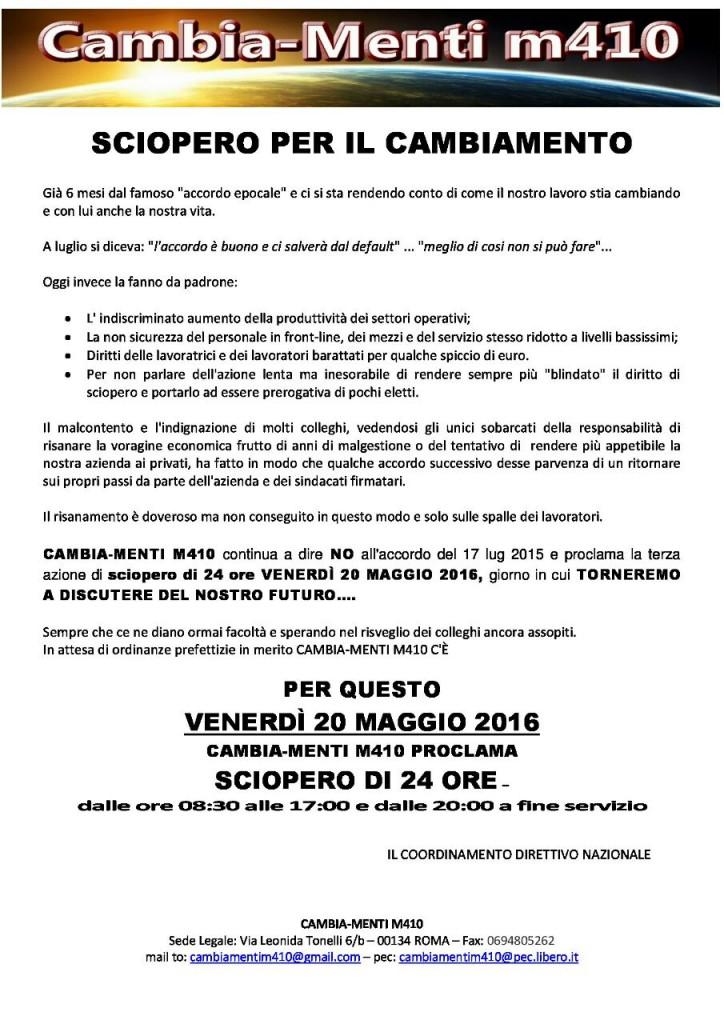 CAMBIA-MENTI M410 PROCLAMA SCIOPERO DI 24 ORE PER VENERDI 20 MAGGIO 2016