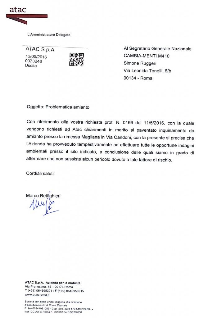 AMMINISTRATORE DELEGATO DI ATAC , MARCO RETTIGHIERI RISPONDE ALL'ORGANIZZAZIONE SINDACALE CAMBIA-MENTI M41O