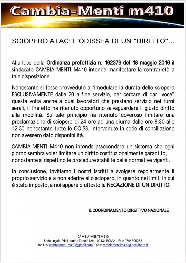 COMUNICATO DIRETTIVO NAZIONALE CAMBIA-MENTI M41O,  SCIOPERO ATAC 20 MAGGIO 2016