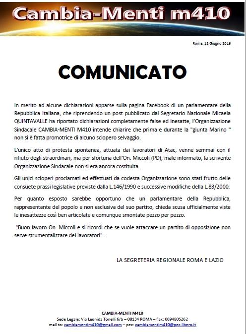 COMUNICATO STAMPA