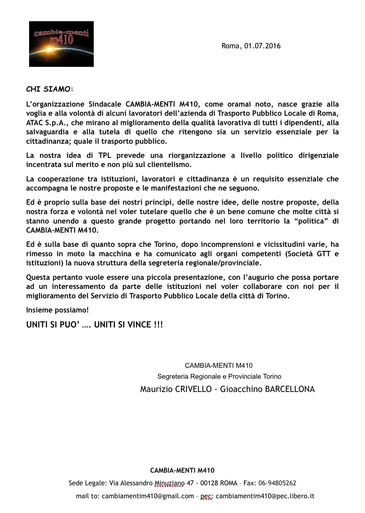 Presentazione segreteria Torino