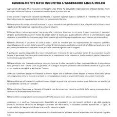 CAMBIA-MENTI M410 INCONTRA ASSESSORE ALLA MOBILITÀ E TRASPORTI LINDA MELEO