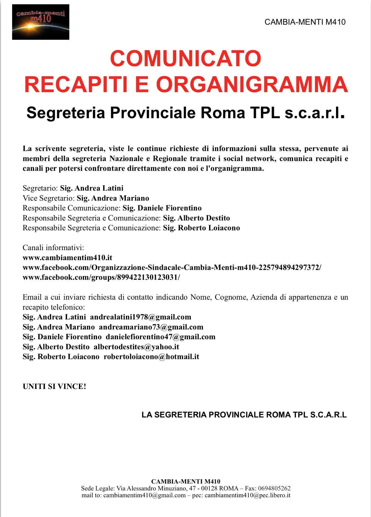 Recapiti e Organigramma Segreteria Roma Tpl scarl