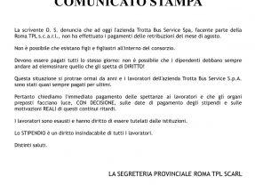 ROMA TPL – CAMBIA-MENTI M410 – COMUNICATO STAMPA RITARDI STIPENDI