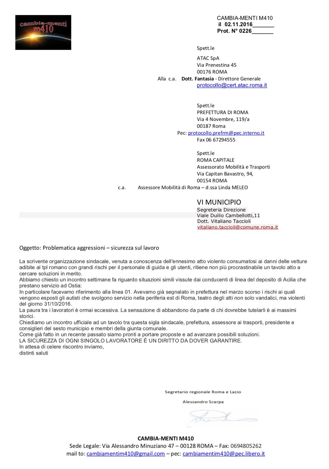 Risposta commissione garanzia e lettera Cambia-menti M410