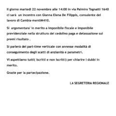 ATAC – CAMBIA-MENTI M410 FA INFORMAZIONE/FORMAZIONE  Incontro con il consulente del lavoro Gianna Elena De Filippis