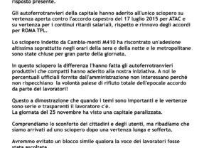 CAMBIA-MENTI M410 – ATAC-ROMA TPL – ADESIONE EPOCALE – Sciopero 25 Novembre 2016