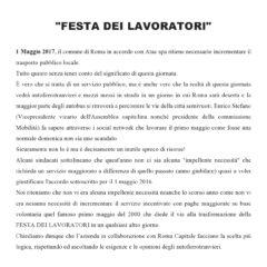 """ATAC – CAMBIA-MENTI M410 – """"Festa dei lavoratori"""" a Roma."""