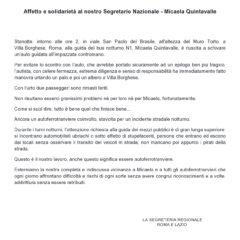 CAMBIA-MENTI M410 – Affetto e solidarietá al nostro Segretario Nazionale Micaela Quintavalle