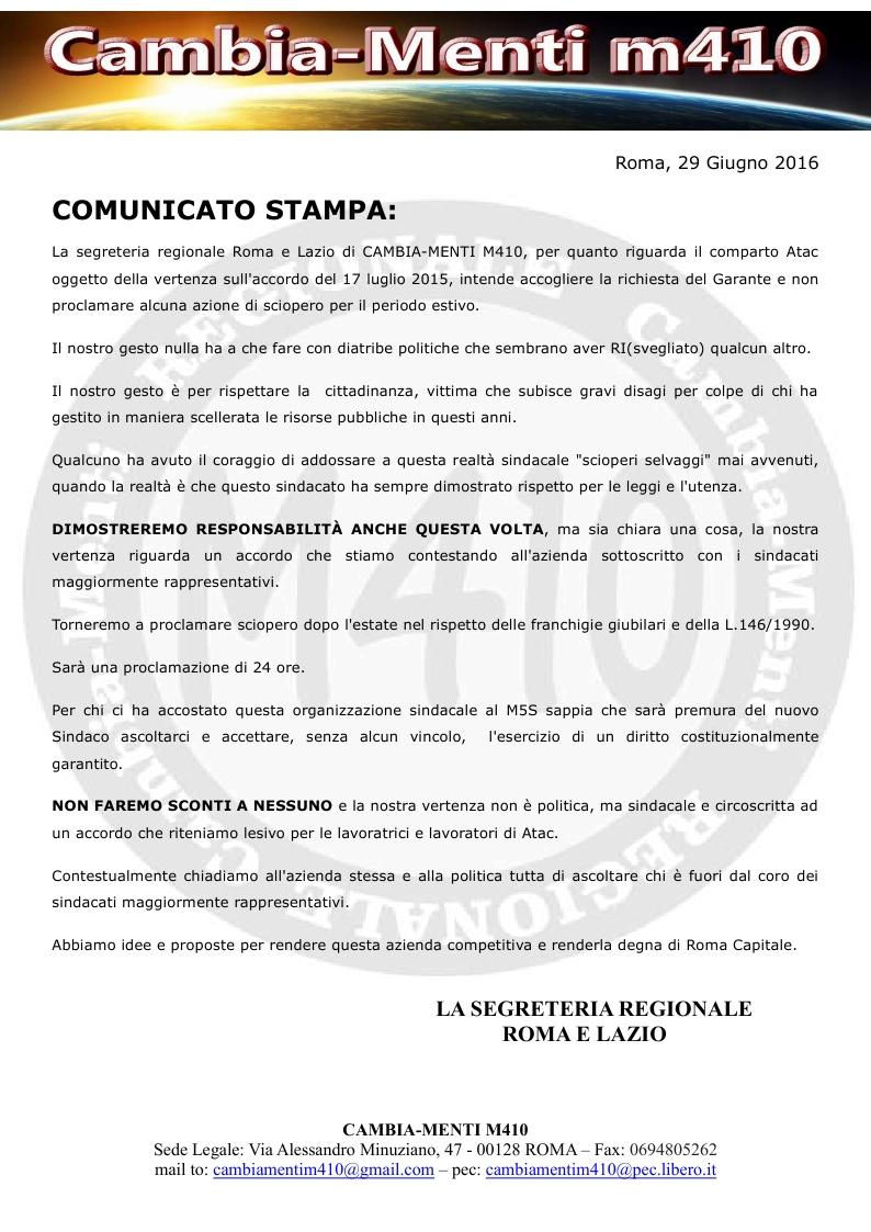 Comunicato stampa scioperi estivi